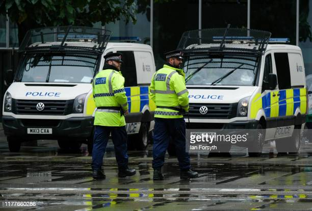 Police officers patrol the streets of Manchester ahead of the Conservative Party Conference on September 28 2019 in Manchester England Despite...