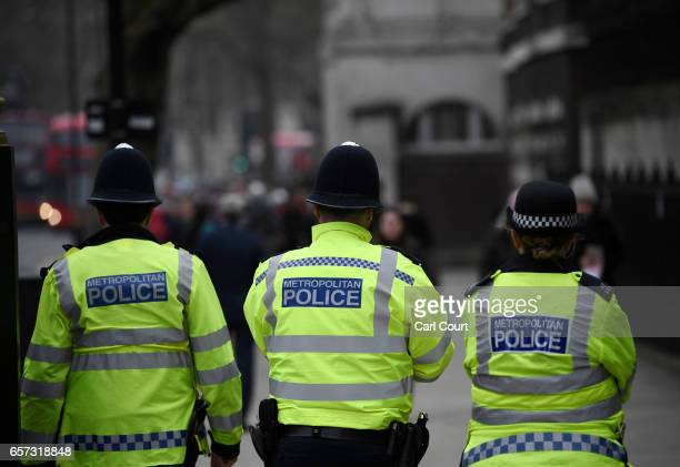 Police officers patrol Whitehall on March 24 2017 in London England A fourth person has died after Khalid Masood drove a car into pedestrians on...