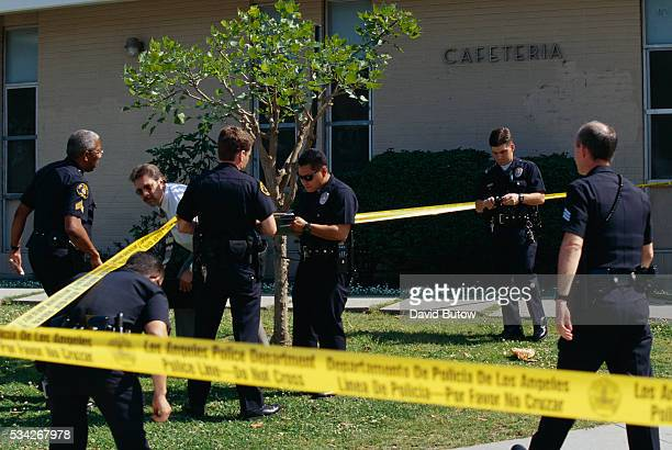Police officers respond to a shooting at a Los Angeles high school A 17yearold was shot