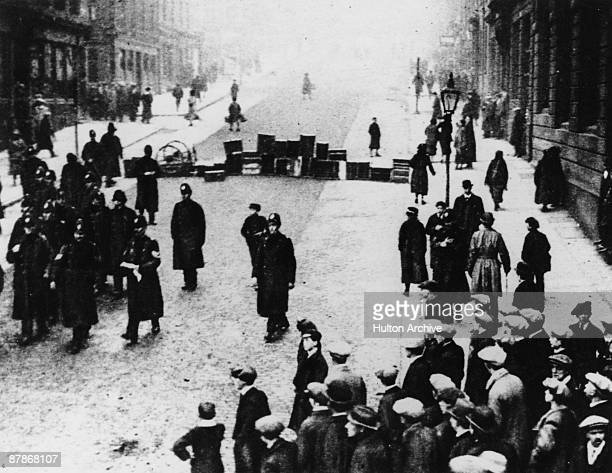Police officers return from a baton charge in North Frederick Street during a general strike in Glasgow January 1919 Tensions mounted culminating in...