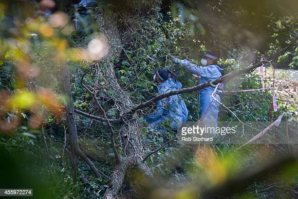 Police officers search for missing schoolgirl Alice Gross on the bank of the River Brent on September 23 2014 in London England The hunt for Alice...
