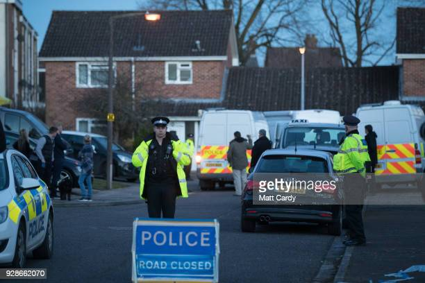 Police officers search the home of Sergei Skripal on March 7 2018 in Salisbury England Sergei Skripal who was granted refuge in the UK following a...