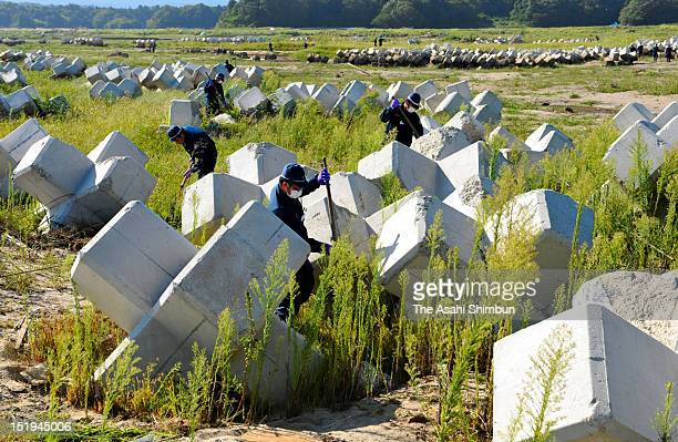 Police officers search the missings among the tsunami washed wavedissipating blocks at former exclusion zone of the troubled Fukushima Daiichi...