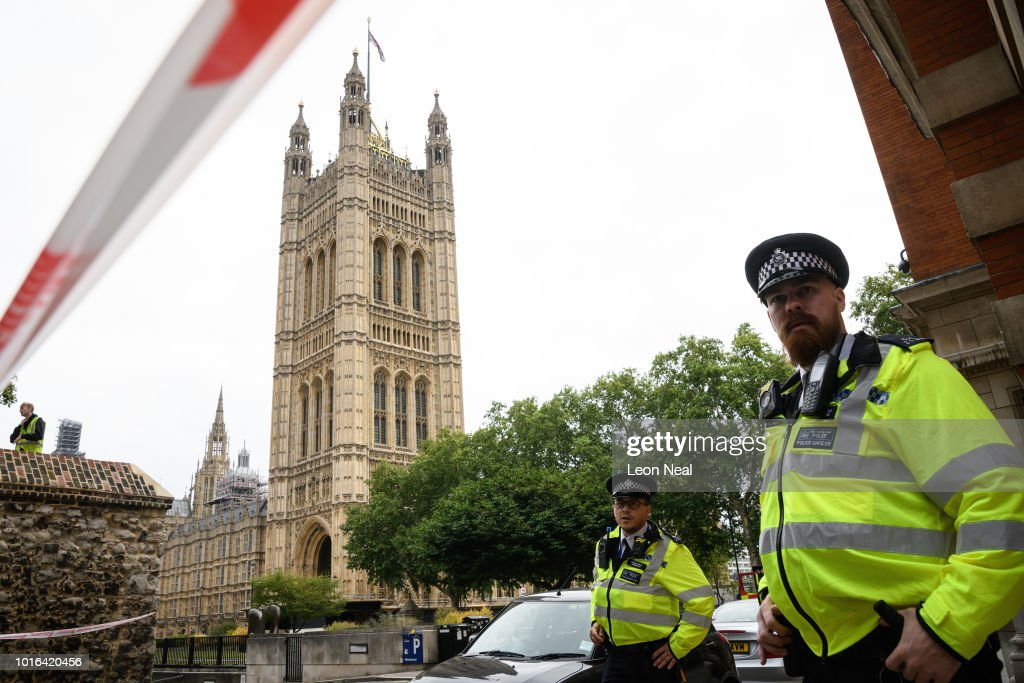Pedestrians Injured As Car Crashes Into Security Barriers At Westminster : News Photo