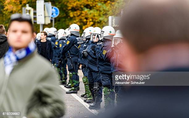 Police officers secure the stadium prior to the Second Bundesliga match between Karlsruher SC and VfB Stuttgart at Wildparkstadion on October 30 2016...