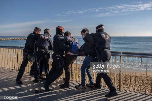 Police officers seen making arrests of anti-fascist militants protesting the presence of an information tent of the far-right party VOX. Anti-fascist...