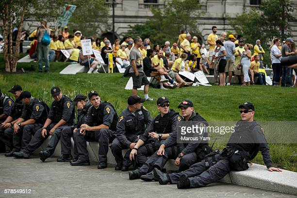CLEVELAND OHIO THURSDAY JULY 21 2016 Police officers sit together as protests have calmed down at the Public Square during the 2016 Republican...