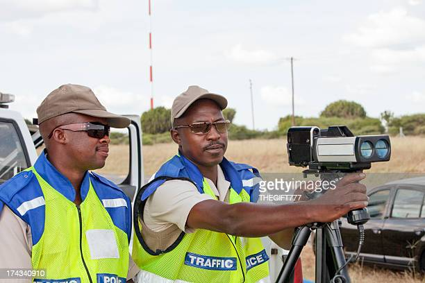 police officers speed trapping - south african culture stock photos and pictures