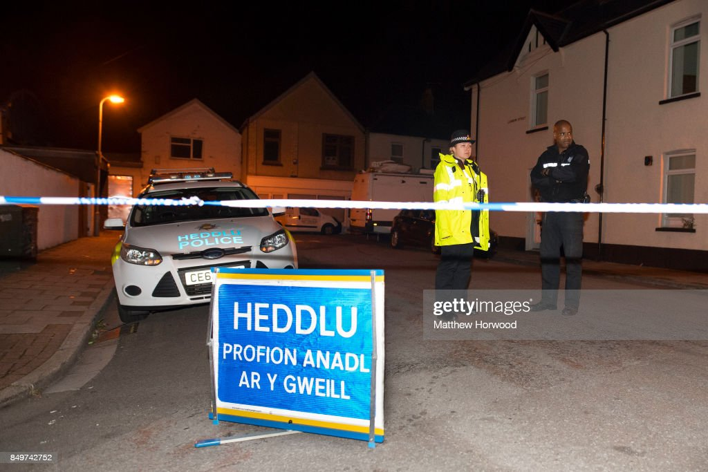 Police officers stand behind a cordon on Jeffrey Street on September 19, 2017 in Newport, Wales. Scotland Yard have said that a 25-year-old was arrested in Newport, Wales on Tuesday evening, the third arrest related to Friday's Tube attack in Parsons Green.