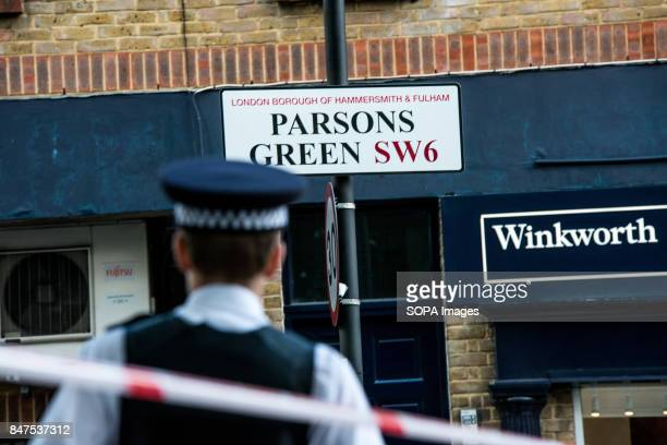 Police officers stand by a cordon at Parsons Green Underground Station Several people have been injured after an explosion on a tube train in...