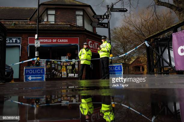 Police officers stand by the cordon near the scene connected to the Sergei Skripal nerve agent attack as investigations continue on March 16 2018 in...