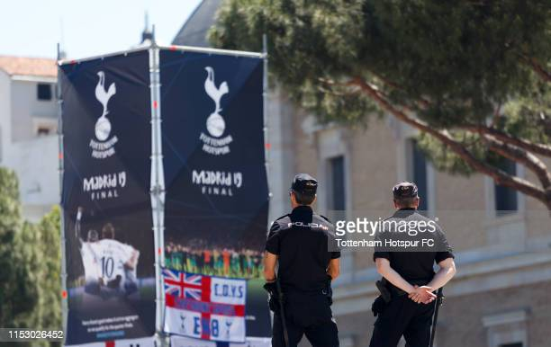 Police officers stand guard ahead of the UEFA Champions League final between Tottenham Hotspur FC via Getty Images and Liverpool at Plaza de Colon on...