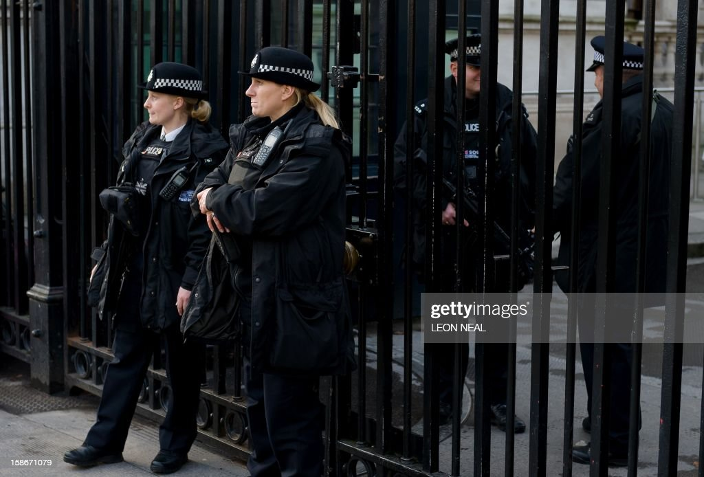 Police officers stand guard at the gates to Downing Street in central London on 23 December, 2012