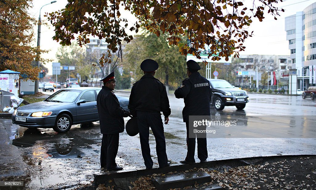Police officers stand on a street in Almaty, Kazakhstan, on : News Photo