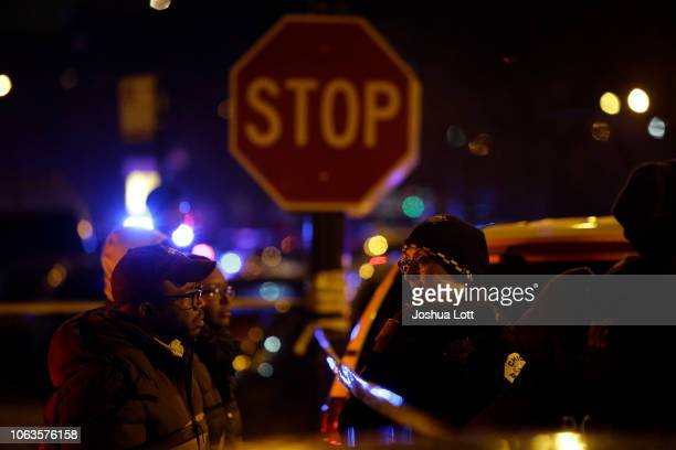 Police officers stand outside Mercy Hospital where a gunman shot multiple people on November 19 2018 in Chicago Illinois Five people were shot...