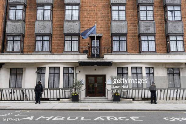 Police officers stand outside the King Edward VII Hospital on April 4 2018 in London England Prince Philip has been admitted to the hospital for a...