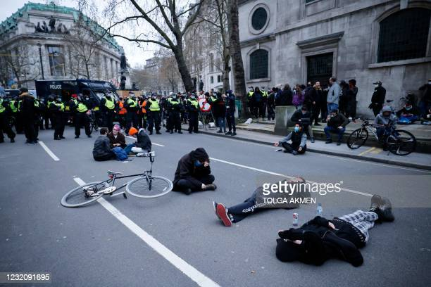 Police officers surround demonstrators taking part in a 'Kill The Bill' protest against the Government's Police, Crime, Sentencing and Courts Bill in...