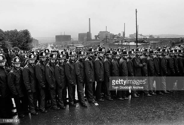 Police officers surrounding the British Steel Coking Plant in Orgreave South Yorkshire during the UK miners strike