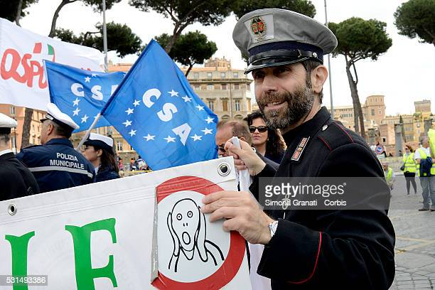 Police officers take part in a national General strike and demonstration seeking better support and reforms on May 13 2016 in Rome Italy