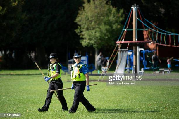 Police officers walk through Edgwick Park looking for knives on September 19, 2020 in Coventry, England. Shadow Home Secretary Labour MP Nick...