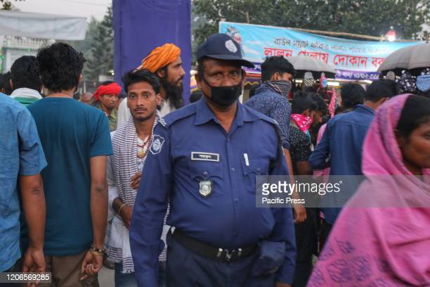 Police officers were wearing masks during their duty times in the festival premises because of the emergency situation of Coronavirus Closing program...