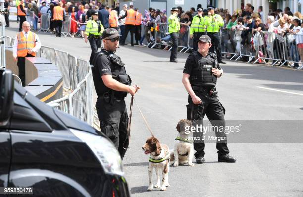 Police officers with sniffer dogs beside the castle on May 18 2018 in Windsor England The Berkshire town west of London will host the wedding of...