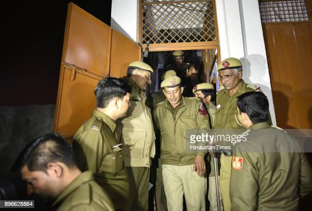 Police officials along with DCW Swati Maliwal raid the males hostel of Adhyatmik Vishwa Vidyalaya of godman Virendra Dev Dixit at Vijay Vihar on...