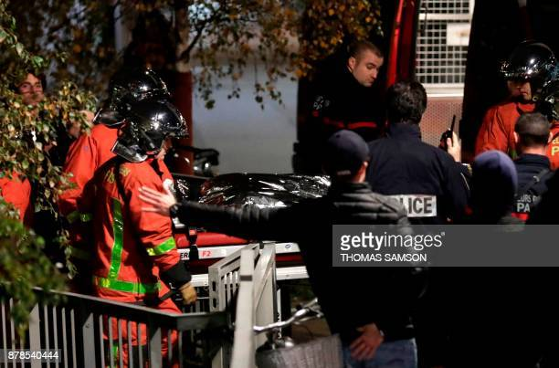 Police officials and rescue personnel transport the body of a tiger which had escaped from a circus into a vehicle in Paris on November 24 after the...