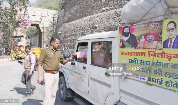 Police officials barricaded all roads and entries leading to the historic Chittorgadh fort and checked credentials of people entering it in view of...