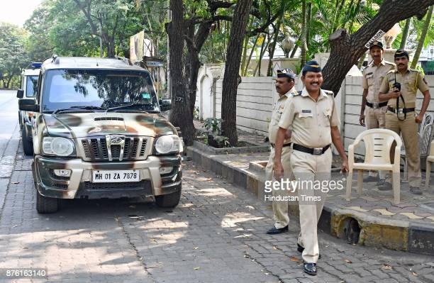 Police officials guard filmmaker Sanjay Leela Bhansali's house at Nana Nani Chawk in Versova on November 16 2017 in Mumbai India Sanjay Leela...