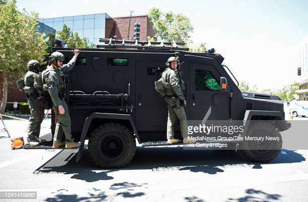 Police on an armored vehicle patrol downtown Walnut Creek Calif on Monday June 1 2020 Walnut Creek Police issued a curfew tonight after looters...