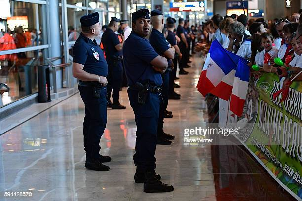 Police on duty during the return of the French delegation from Rio after the 2016 Olympic Games on August 23 2016 in Paris France