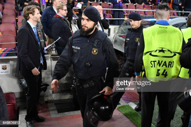 Police on duty during the Uefa Champions League Round of 16 second leg match between FC Barcelona and Paris Saint Germain at Camp Nou on March 8 2017...