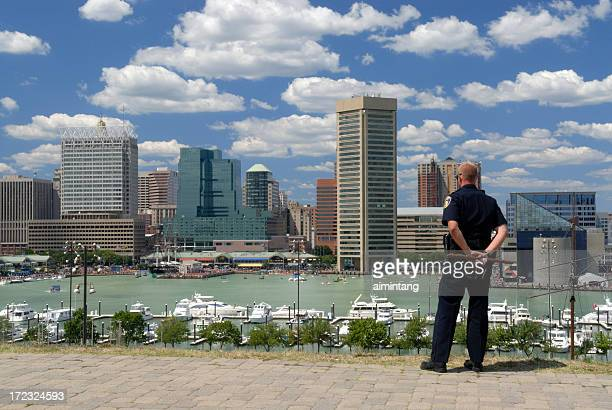 police on duty - baltimore stock photos and pictures