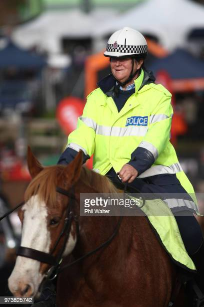 Police on horseback at the Mystery Creek Fieldays on June 14 2018 in Hamilton New Zealand