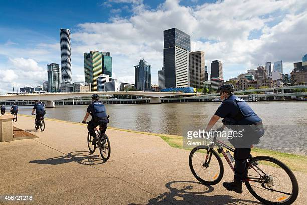 Police on patrol at Southbank near the Brisbane River ahead of the G20 Leader's Summit on November 10 2014 in Brisbane Australia The G20 summit will...