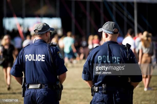Police on patrol at Splendour In The Grass 2019 on July 21, 2019 in Byron Bay, Australia.