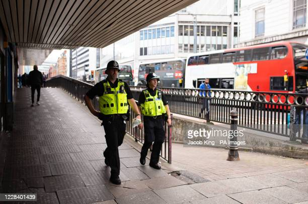 Police on patrol in Birmingham city centre days after a lone knifeman carried out a stabbing spree which saw one dead and several injured.
