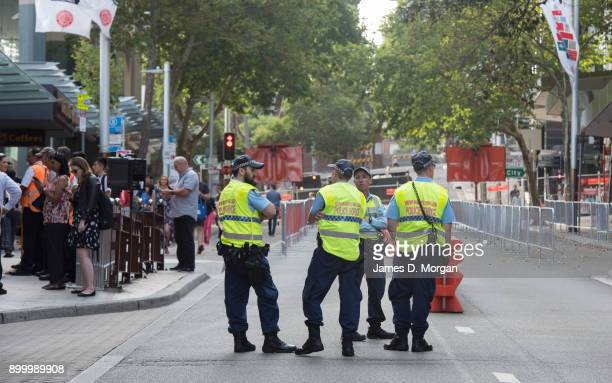 Police on patrol to protect New Year's revellers in North Sydney from potential attacks from vehicles on New Year's Eve on December 31 2017 in Sydney...