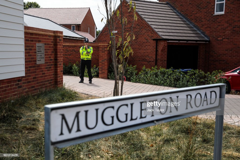 Police on the scene at Muggleton Road where a major incident was declared after a man and woman were exposed to an unknown substance on July 4, 2018 in Amesbury, England. The pair, who are in their 40s, are in a critical condition after being found unconscious at an address in Muggleton Road Amesbury. The town is around 10 miles from Salisbury where former Russian spy Sergei Skripal and his daughter Yulia were poisoned in a suspected nerve agent attack.