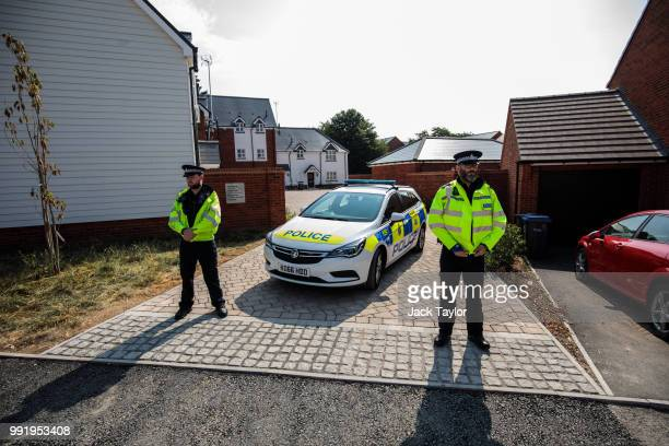 Police on the scene at Muggleton Road where a major incident was declared after a man and woman were exposed to the Novichok nerve agent on July 5...
