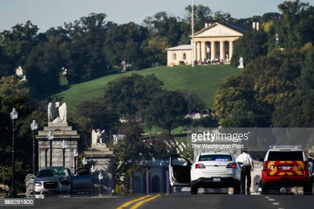Police on the scene of a fatal accident that took the life of a runner along the Arlington Memorial Bridge on Saturday October 21 in Washington DC