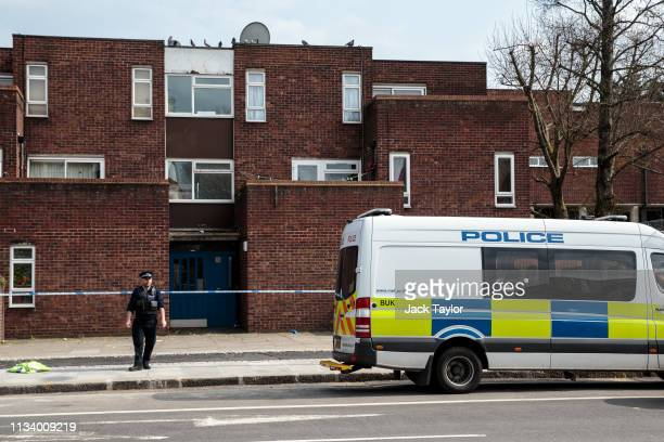 Police on the scene of a stabbing in Edmonton on March 31 2019 in London England Four people have been stabbed in a spate of knife attacks in North...