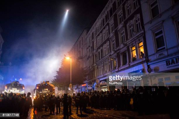 Police operation during riots in St Pauli district during G 20 summit in Hamburg on July 8 2017 Authorities are braced for largescale and disruptive...