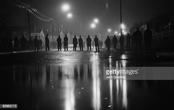 Police outside Cortonwood Colliery South Yorkshire during the UK miners' strike 1984 The proposed closure of the colliery was a precipitating factor...