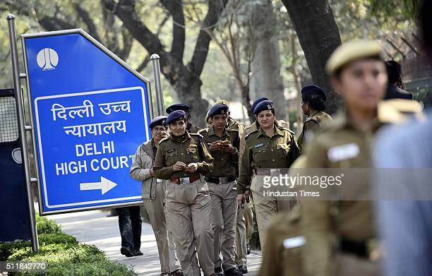 Police outside the Delhi High Court during bail hearing of JNU President Kanhaiya Kumar on sedition charges on February 23 2016 in New Delhi India On...