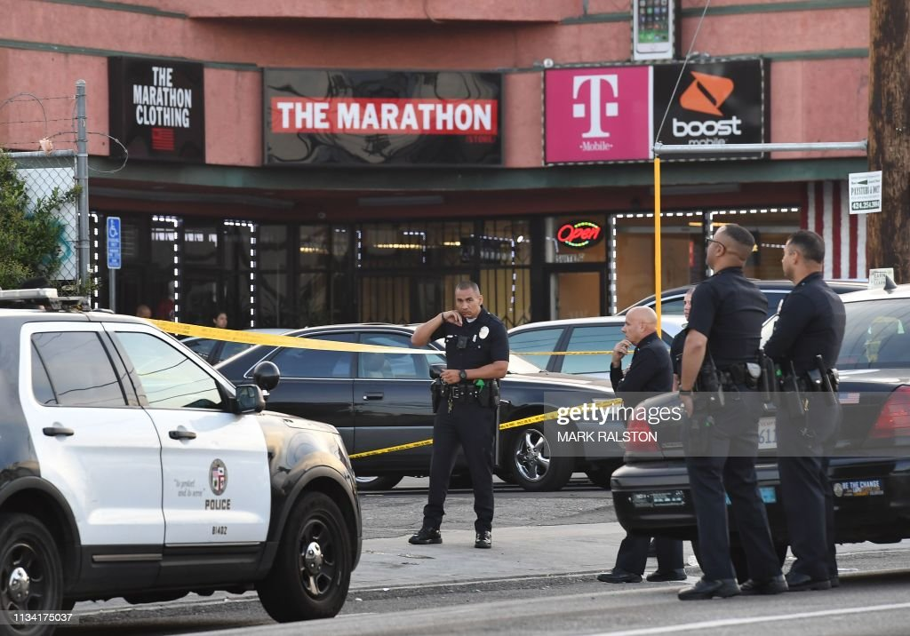 a87299eb8d19fa Police outside The Marathon clothing store owned by Grammy-nominated ...