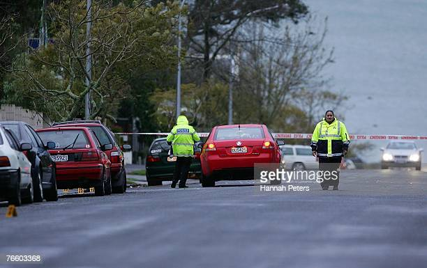 Police outside the scene where Augustine Akateuroa Borrell of Papatoetoe died after being stabbed in the chest in Hamilton Road Herne Bay shortly...