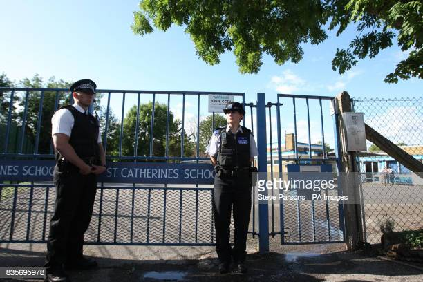 Police outside the St Catherines School in West Drayton Middlesex after one of the school's pupils Chloe Buckley died of Swine flu