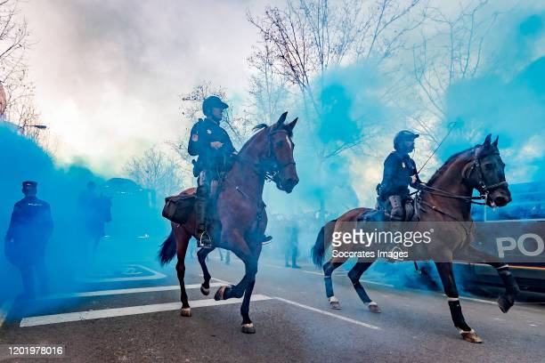 Police outside the stadium during the UEFA Europa League match between Getafe v Ajax at the Coliseum Alfonso Perez on February 20 2020 in Getafte...